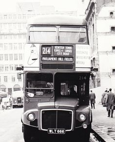 London transport RM666 on route 214 Finsbury Square 1960's.