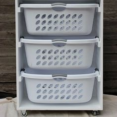 Doing Laundry Can Actually Be Fun If You Make This DIY: Tired of her ever-growing laundry pile, blogger Liz Latham of Hoosier Handmade came up with an ingenious solution: a mobile laundry station that provides space to organize and separate laundry and store supplies.