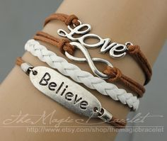 Infinity, love & trust bracelet - wax rope and leather braided bracelet - the gift of friendship, bridesmaid bracelets, $4.99