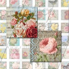 NEW Vintage Botanical  Digital Collage Sheet  1x1 by calicocollage, $3.75