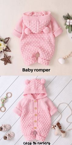 Adorable knitted baby jumpsuit with chunky knit design, comfortable hood and cute pom pom ears. Knitted from a soft cotton blend material. Baby Romper Pattern Free, Baby Knitting Patterns Free Newborn, Baby Clothes Patterns, Baby Patterns, Knit Baby Dress, Knitted Baby Clothes, Knitted Romper, Cute Baby Clothes, Knitted Baby Outfits
