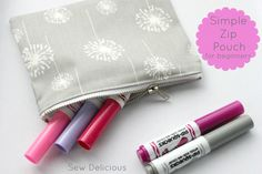 Sew Delicious: Simple Zip Pouch Tutorial For Beginners (with tips about sewing zippers)