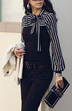 Slim Fit Striped Pattern Tie Blouse (More Colors Available) – Trendy Road