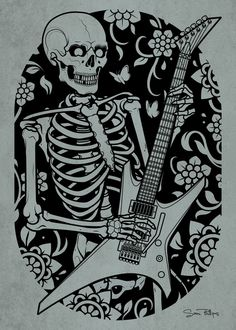 #skeleton #guitar #tattoo #print