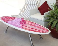 Furniture, Outstanding Surfboard Table Design For Patio With White Rattan Outdoor Chairs: Chic and Refreshing Hawaiian Flower Surfboard Table Design Surfboard Coffee Table, Surfboard Decor, Surf Decor, Hawaiian Home Decor, Hawaiian Homes, Hawaiian Bedroom, Rattan Outdoor Chairs, Outdoor Decor, Tropical Decor