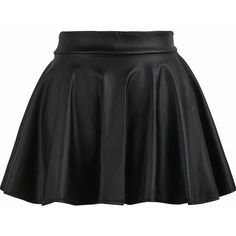 Pleated Flare PU Black Skirt ($8.99) ❤ liked on Polyvore featuring skirts, bottoms, saias, black, circle skirt, flare skirt, black skirt, flared skirt und flared skater skirt