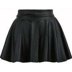 Pleated Flare PU Black Skirt ($8.99) ❤ liked on Polyvore featuring skirts, bottoms, saias, black, circle skirt, flare skirt, black skirt, flared skirt und flared skater skirt