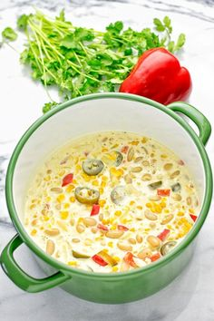 This Vegetarian White Chili is made with vegan cream cheese, super easy to make and seriously delicious. Also entirely plant based and gluten free. Veggie Recipes, Soup Recipes, Whole Food Recipes, Vegetarian Recipes, Dinner Recipes, Cooking Recipes, Healthy Recipes, Easy Recipes, Cooking Chili