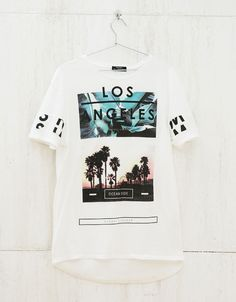 T-shirt estampado e texto - New - Bershka Portugal