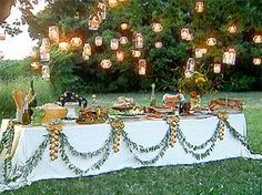 Great buffet table!  Love the lights.