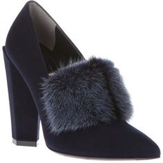 FENDI fur-trimmed pump