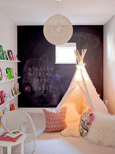 Chalkboard wall in playroom
