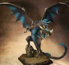 The Internet's largest gallery of painted miniatures, with a large repository of how-to articles on miniature painting Dungeons And Dragons Miniatures, Dungeons And Dragons Game, Dragon Miniatures, Fantasy Miniatures, Wood Elf, Fantasy Beasts, Dragon Crafts, Polymer Clay Sculptures, Blue Dragon