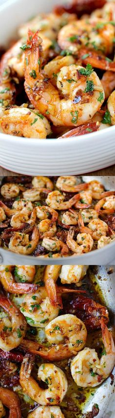 Low Unwanted Fat Cooking For Weightloss Garlic Sun-Dried Tomatoes Roasted Shrimp - Best garlic roasted shrimp recipe ever! Learn how to make this Spanish/Mediterranean dish Shrimp Dishes, Fish Dishes, Shrimp Recipes, Fish Recipes, Mediterranean Diet Recipes, Mediterranean Dishes, Roasted Shrimp, Broiled Shrimp, Garlic Shrimp