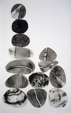 'Pebbles are Great (sepia series)' by London-based English artist & printmaker Tessa Horrocks. Collograph. via the artist's site