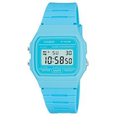 Casio F-91WC-2AEF-HP Unisex Core Digital Square Dial Blue Plastic... (42 AUD) ❤ liked on Polyvore featuring jewelry, watches, casio watches, unisex digital watch, square watches, water resistant watches and digital sports watches