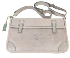 Large Grey padded Ipad/Laptop Satchel with green trimmings and an adjustable strap. Grey Fashion, Satchel, Ipad, Laptop, Green, Leather, Bags, Collection, Handbags