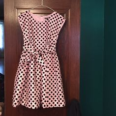Nicolette Mason for ModCloth dress Never worn- light pink with black velvet polka dot pattern. Super adorable fit and flare. ModCloth line with Nicolette Mason. ModCloth Dresses Midi