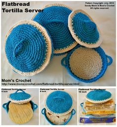 Time to crochet something different. The Flatbread Tortilla Server. FREE pattern includes instruction for all 3 sizes, and a FREE PDF download. http://www.moms-crochet.com/flatbread-tortilla-server.html
