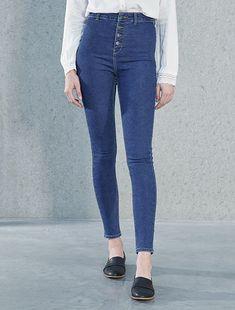4e997ad7b4 Jeans skinny brachetta abbottonata