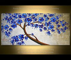 Original 48 x 24 Abstract Modern Blue Blooming Tree by Artcoast