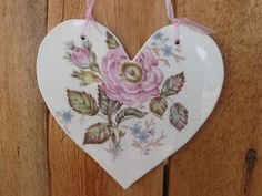 rose heart hand cut from vintage dinnerware hand made by me by JackRabbitFlats on Etsy