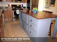 Diy Kitchen Island From Dresser this old dresser is given new lifeturning it into a kitchen