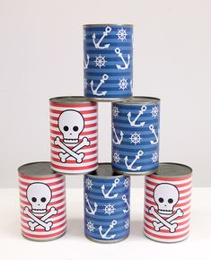 Yar har me hearties! This pirate tin can bowling game is so easy to make with empty cans and our free printables. A fun pirate party game for kids that can be played over and over again! Pirate Games For Kids, Pirate Party Games, Pirate Activities, Fun Party Games, Birthday Party Games, Party Party, Sofia Party, Pirate Day, Pirate Birthday