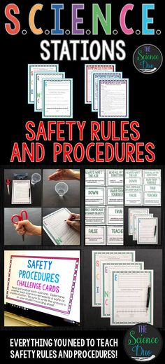This Safety and Scientific Method S. Stations Bundle is designed . 6th Grade Science, Middle School Science, Elementary Science, Science Classroom, Teaching Science, Science Education, Teaching Ideas, Classroom Ideas, Teaching Activities