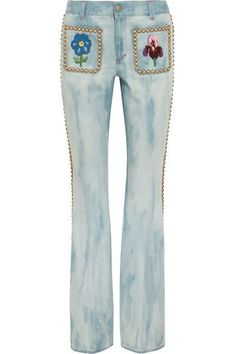Gucci - Studded Embroidered Mid-rise Flared Jeans - Mid denim - 2