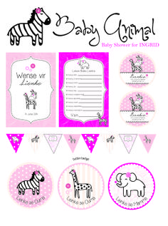 Wild animal pink and black baby shower stationery Rhubarb Marmalade, Button Badge, Black Babies, Stationery, Bullet Journal, Baby Shower, Animal, Pink, Design