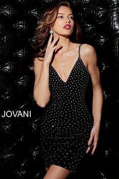 417901019a1 Black Embellished Velvet V Neck Short Dress 63560