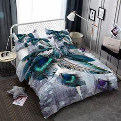 GOANG bedding set duvet cover bed sheet pillow digital printing peacock feathers california king bedding sets Home textile 3d Bedding Sets, Linen Bedding, Unique Bedding, Teal Bedding, Bed Linen, Comforter Cover, Duvet Cover Sets, California King Bedding, Bedclothes