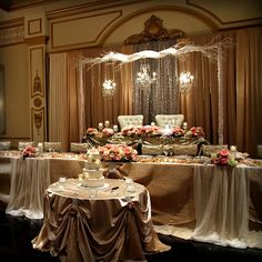 wonderful use of fabric, draping for head table at wedding Enchanted Forest