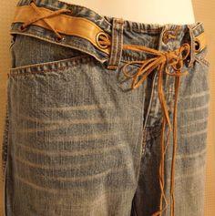 #Vintage #Western Jeans #Boho #Hippie #Indie Tie Brass Leather Women Sz 8 #Fashion #WomensJeans