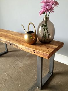 Reclaimed Wood Live Edge Bench / U-Shaped Metal Legs by wwmake
