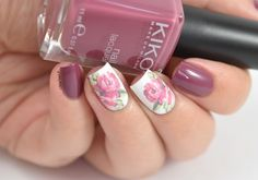 Elegant nails design with beautiful rose water decals.
