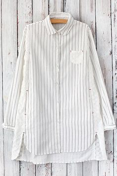 Long Sleeve High Low Pinstripe Shirt