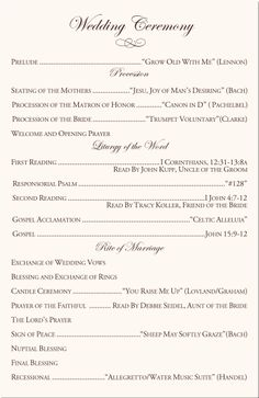 Pics for baptist wedding program wording for Christian wedding order of service template