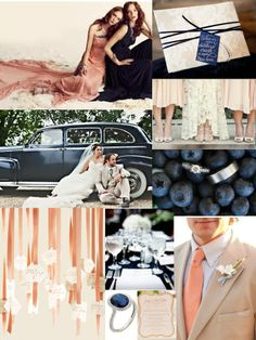 navy and peach