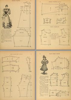 PDF Book ~ Instant Digital Download - 86 Patterns and all beautifully illustrated. Download it direct to your iPad, tablet or computer for reading instantly. Victorian Costume Patterns 177 Pages of Patterns and Designs to print out and use. Victorian era circa 1895 Period Costume Patterns for cutting a ladies' complete wardrobe, including, undergarments, night gowns, street costumes, house dresses, princess evening gowns and more... Plus Patterns for Mens Suits and Boys and Girls garments. 86 Pa Costume Patterns, Dress Sewing Patterns, Clothing Patterns, Vintage Patterns, Vintage Sewing, Victorian Pattern, Victorian Era, Dries Van Noten, Victorian Costume