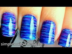 Fan Brush Striped Nail Art Tutorial. Looks like spun sugar!