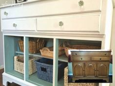 An old buffet repurposed into toy storage - painted with Miss Mustard Seed milk paint