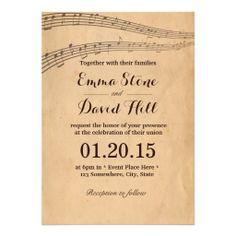 Vintage Old Music Notes Wedding Invitations