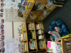 Grade one classroom library!! Students share their love of reading, book shopping, and text based discussion.