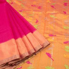 Marm Handwoven Chanderi Silk Cotton Saree With Ganga Jamuna Border 10007937 - profile - AVISHYA.COM