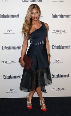 Laverne Cox from 2015 Emmys: Party Pics  The Orange Is the New Black actress walks the red carpet at the 2015 Entertainment Weekly pre-Emmys party.
