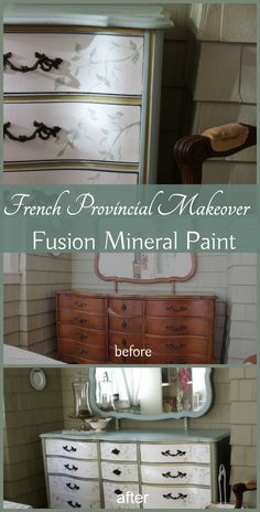 I created this French Provincial dresser makeover using Fusion Mineral Paint - love the charming colors -