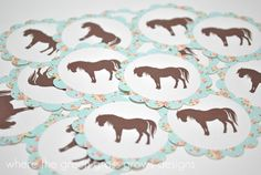 Shabby Chic Vintage Pony Stickers by TheGreenGrassGrows on Etsy, $5.50