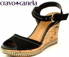 sandália anabela salto cortiça couro preta cravo & canela